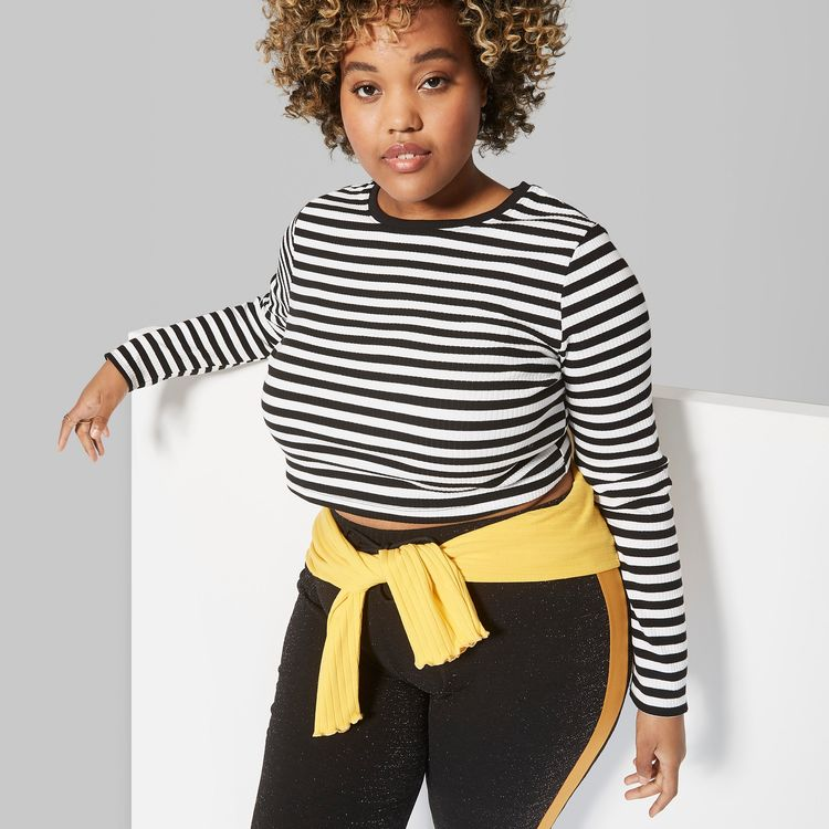a83e4d4b5d4 Women s Plus Size Striped Long Sleeve Crew Neck Fitted T-Shirt - Wild Fable  Black White 4X