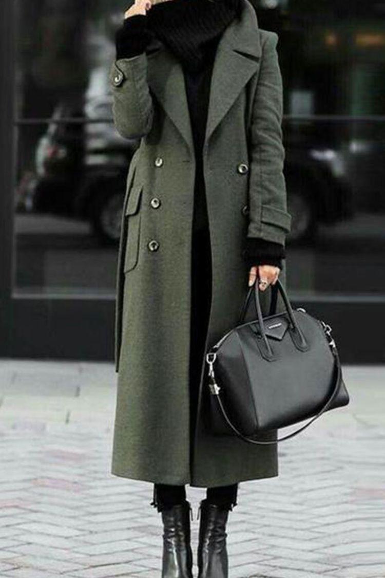Trench coat verde com gola de turn-down elegante casaco de lã