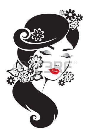Black and white illustration of elegant Japanese woman. photo 9c50259d7f0