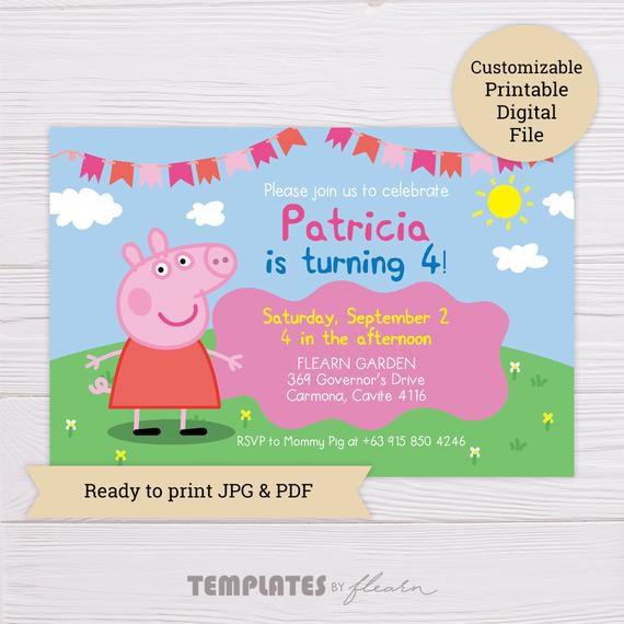 peppa pig invitation peppa invitation peppa pig invite