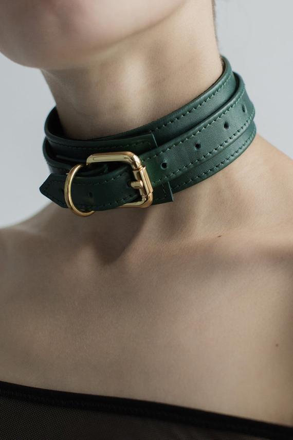 Premium leather BDSM collar Submissive collar Slave collar