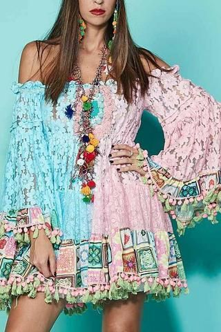 37fc0b3f900 Antica Sartoria Unicorn Lace Dress - multicolor blue and pink off the  shoulder short dress with