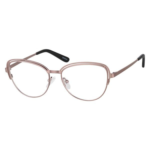 641ac65cd48 Zenni Womens Cat-Eye Prescription Eyeglasses Rose Gold Stainless Steel  3216219