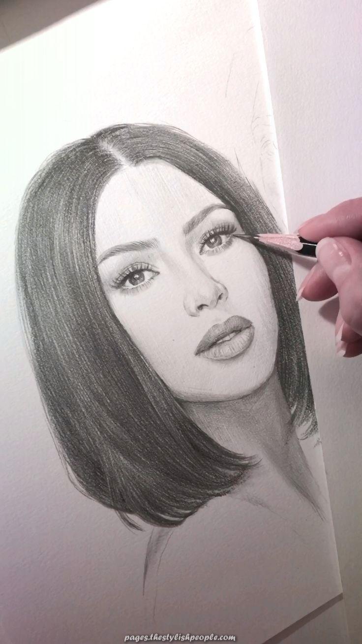 Fantastic A pencil portrait of Kim Kardashian.