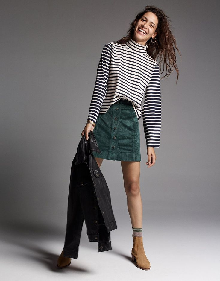 513ff87c86 madewell velveteen a-line skirt worn with wide-sleeve turt