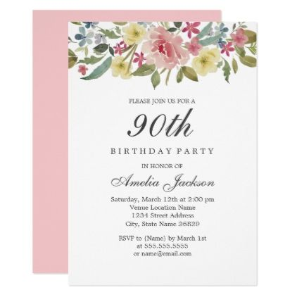 Blush Botanical Watercolor 90th Birthday Party Invitation