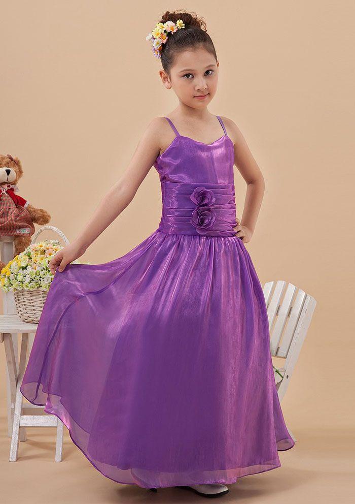 575ffa3b82 2015 Ruched Flowers Floor Length Chiffon Purple Zipper Spaghetti Straps  Sleeveless Flower Girl Dresses FGD