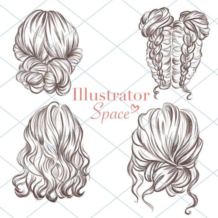 Conjunto de cabelo clipart de penteados DIGITAL DOWNLOAD Penteados personalizados Clip de cabelo de personagem Cabelo de personagem Presente de menina da moda Planejador de clipart, 12 imagens png