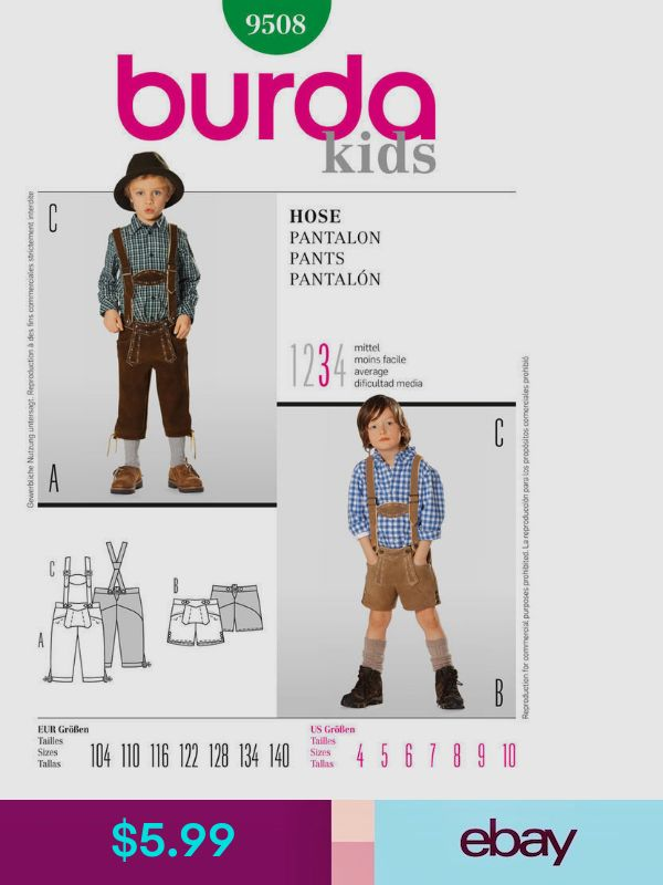 Burda 9508 Sewing Pattern Lederhosen Child Oktoberfest Siz