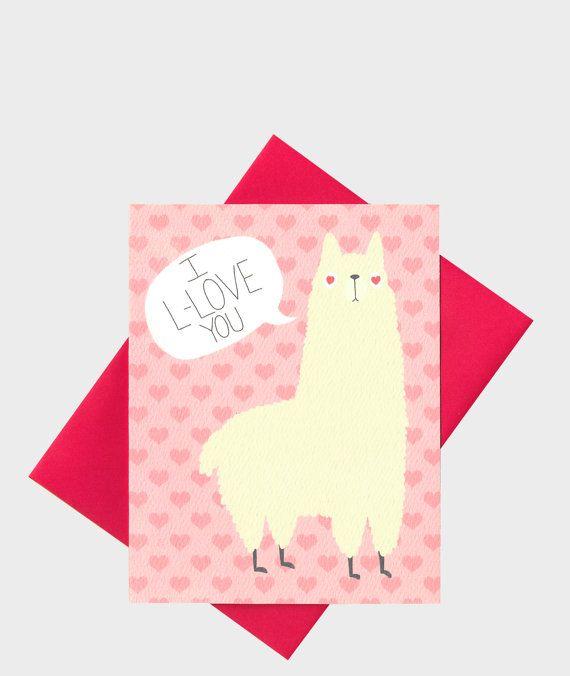 Llama Greeting Card Llama Love Card Alpaca Boyfriend Ca