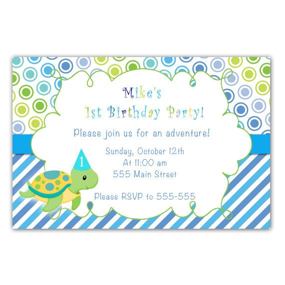 Turtle Birthday Invitation Cards Boy Blue Green By Pinkthecat 1299