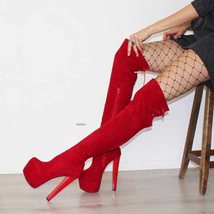 cb6b677215b Red Suede 19 cm Knee High Platform Boots