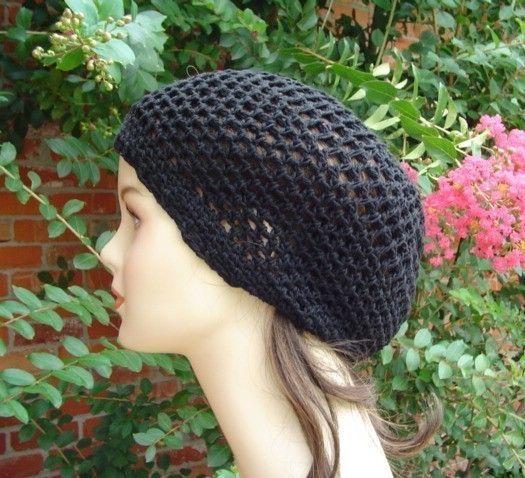 493e2eb6 Hemp cotton beanie, black slouchy hat, very small Hippie Dread Tam, Snood  hat, crochet summer beanie, woman black hat, man slouch hat, vegan