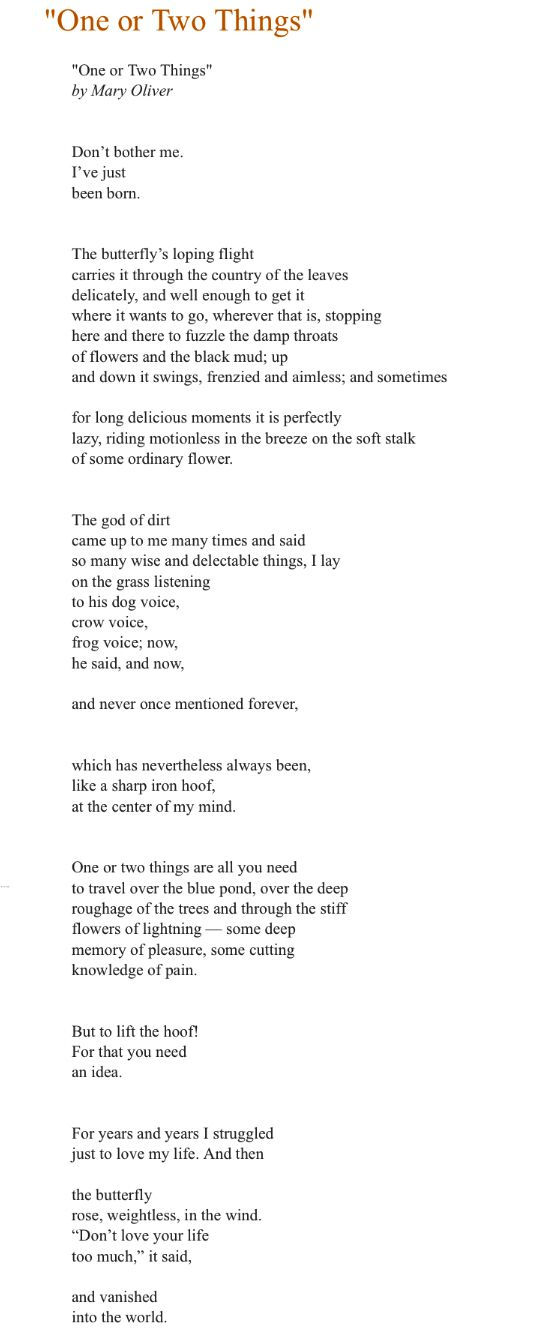 Still one of my favorite poems by Mary Oliver