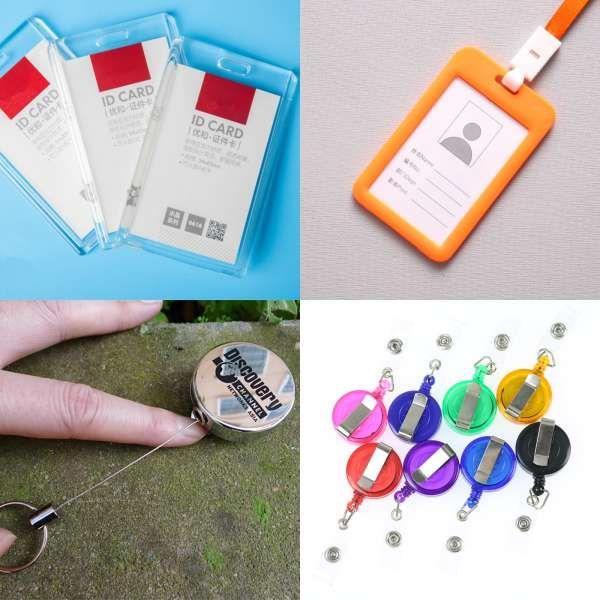 75c8f7039a153 Retractable Pull Badge Reel Zinc Alloy Metal Silver ID Lanyard Name Tag  Card Badge Holder Reels