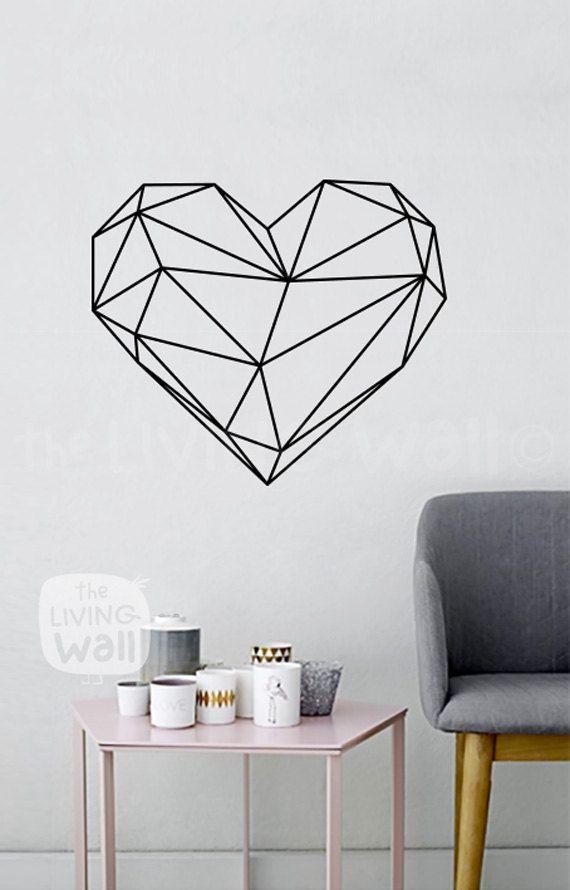 Cœur géométrique mur autocollant Decor chambre, Wall Sticker coeur vinyle murales pour chambre à coucher, australien fait