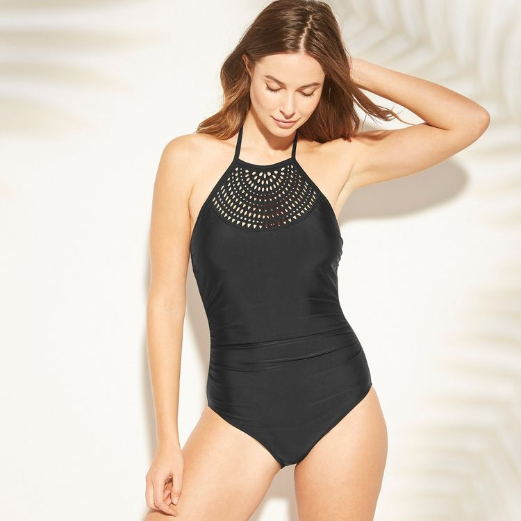 af42b21f097 Women's Laser Cut High Neck One Piece Swimsuit - Kona Sol Black S