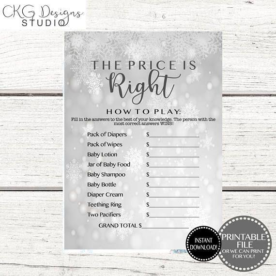 Christmas Baby Shower Games Printable Christmas Price Is