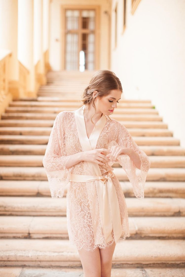6cf0d522d Tulip French Lace   Silk Bridal Kimono Robe in Blush Pink - style 200