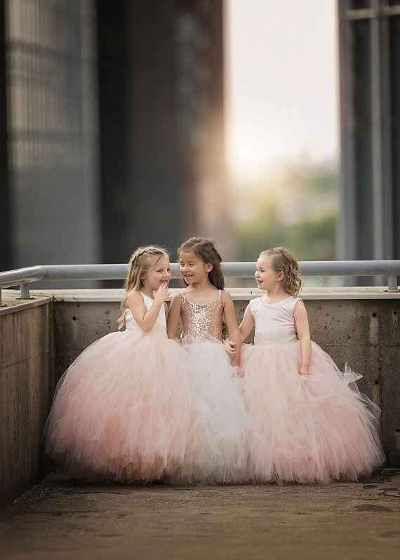 The Grace Dress - Ivory Satin Bodice and Blush Tulle - Flower Girl Tutu Dress