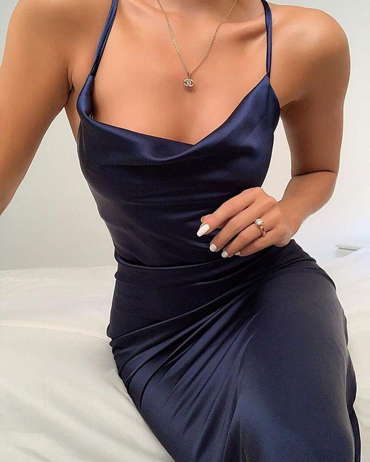 Shop Plunge Neck Satin Mini Dress right now, get great deals at pickmyboutique.co.uk.