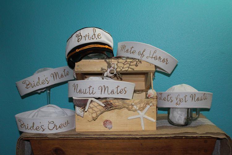 d468b4ab412 Nautical wedding party hat set. This set comes with 6 Bridesmaids Sailor  hats