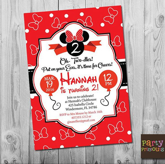 Minnie Mouse 2nd Birthday Invitation Girl Minnie Mouse Sec