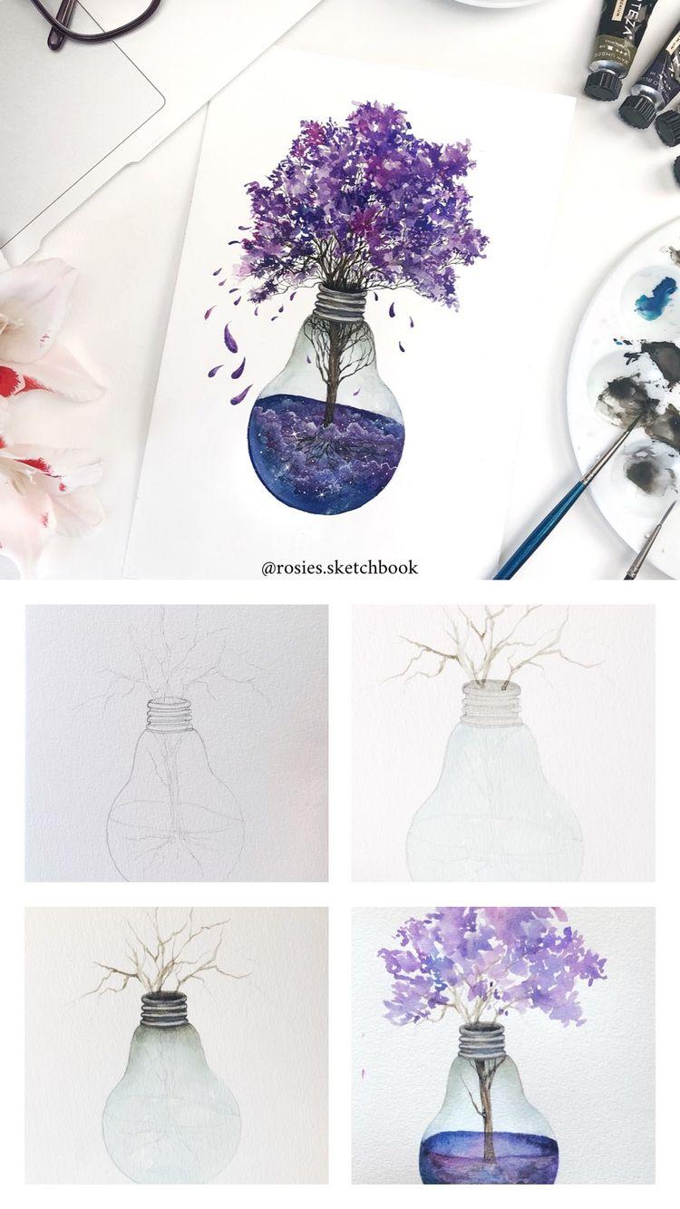 Lightbulb Watercolor Tutorial