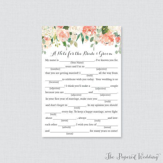 Printable Wedding Mad Libs Peach Fl Cards For Advice And Cream Flower