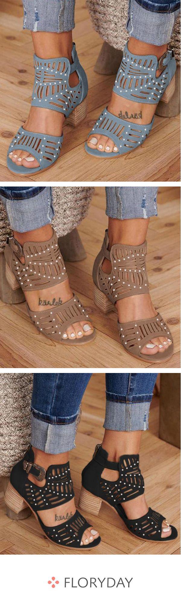 Buckle Heels Chunky Heel Shoes