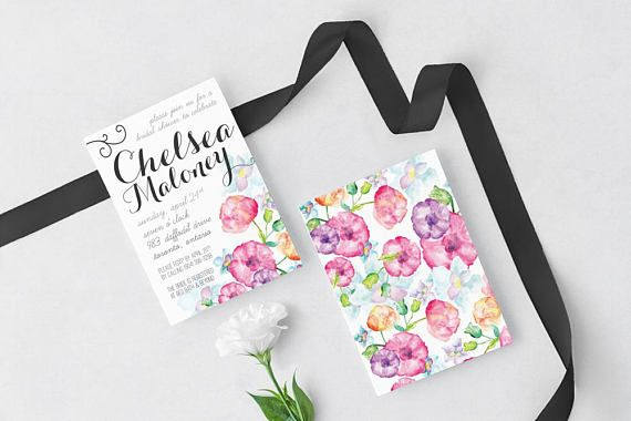 black and white watercolor flowers bridal shower invitation print at home digital download printable pink purple floral shower invite