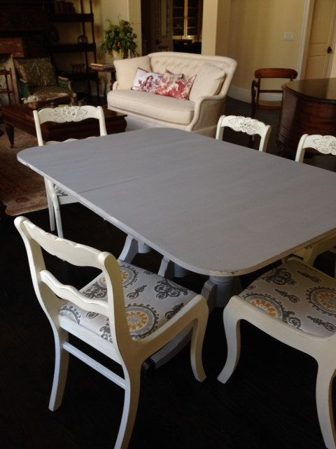 Antique Duncan Phyfe Table and Six Chairs by velvetcupboard, $439.00 - Antique Duncan Phyfe Table And Six Chairs By Velvetcupboar