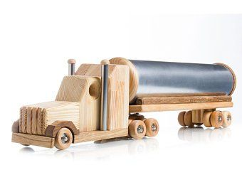 Birthday Gift Idea Wood Lorry Big Truck Trailer Wooden Toys For Boys Car Lovers