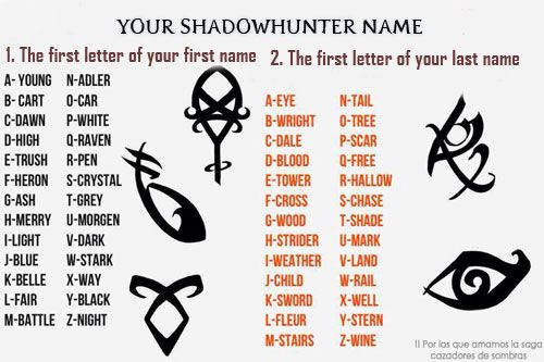"""""""Your shadowhunter name"""" Found this on google and wanted to share it with everyone. By the way! My name became: Blue Chase, kind of love it :D"""