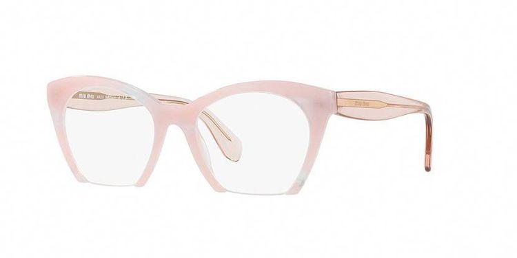 60558af6fa9f Miu Miu MU 03QV SQT1O1 Pink and Transparent Glasses