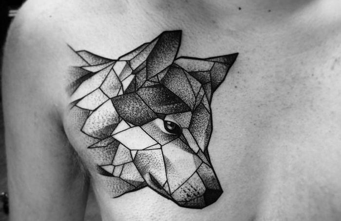 Tatouage Loup Geometrique Dessin Sur La Peau A Motifs Ani