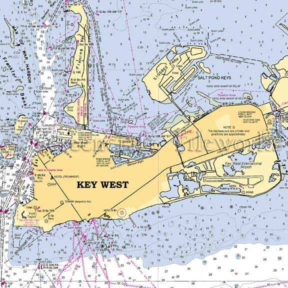 Florida - Key West / Nautical Chart Decor