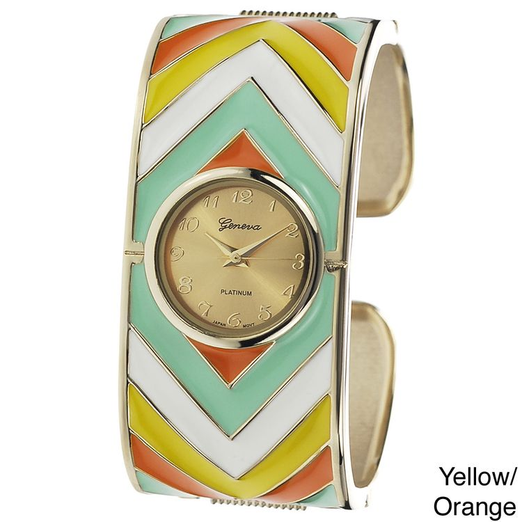 97ad67a1ea0 Geneva Platinum Women s Metal Print Cuff Watch