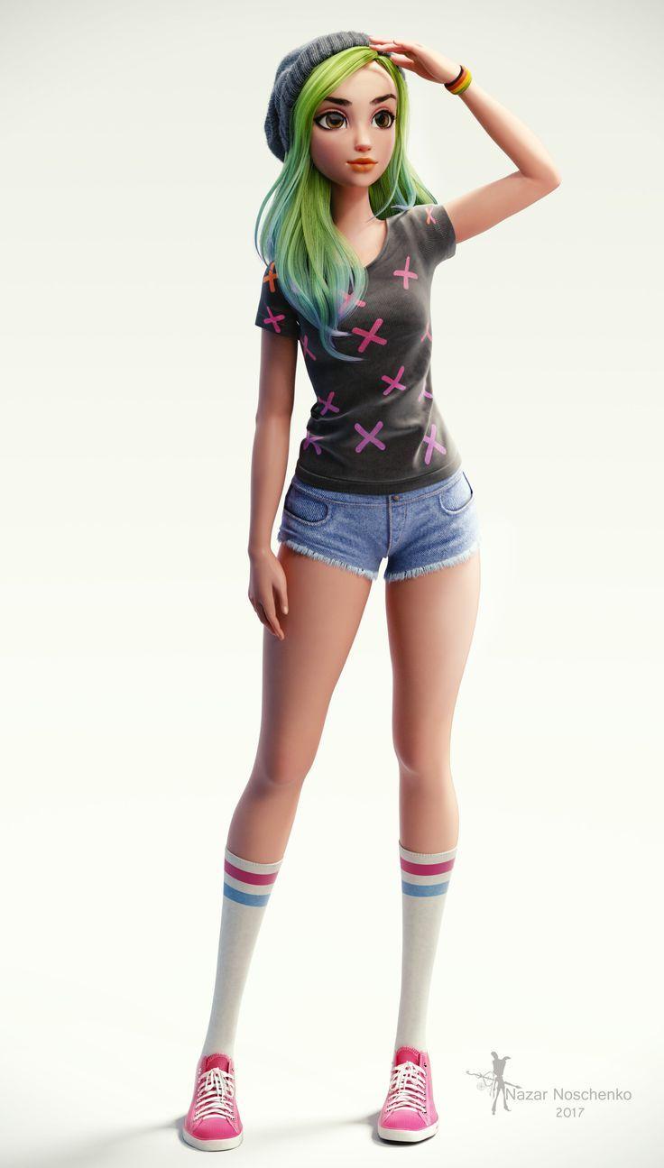 Minha mais recente personagem Garota de cabelos verdes pelo conceito de Julio Cesar lindo Facebook: ... - Caarton