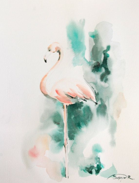 Flamingo Original Watercolor Painting, Salmon Pink Emerald Green, Abstract Flamingo Art
