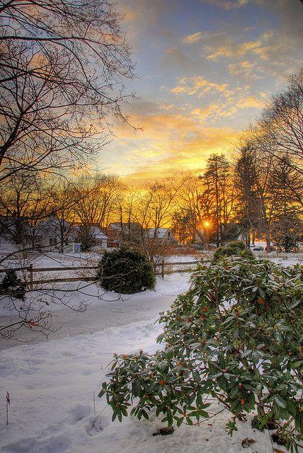 Winter's sunset, Branford, Connecticut, United States
