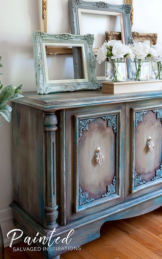 Painting Furniture w Pink Wax - Buffet Makeover (tinted wax with paint, put that over poly top coat)