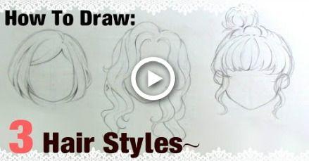 Como desenhar |  3 penteados mangá menina!