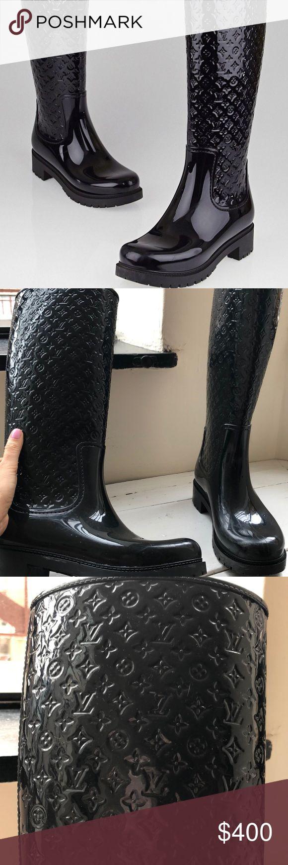 644179bfef8 Louis Vuitton Black Monogram Rain Boots Louis Vuitton Black Monogram Rubber  Splash Rain Boots Size 8 38 - used Louis Vuitton Shoes Winter   Rain Boots
