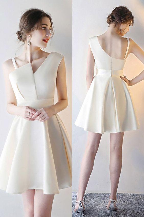 handmade Pale yellow irregular cut satin fabric diagonal wide shoulder strap thin shoulder strap just below the knee bridesmaid dress from custom dress mary