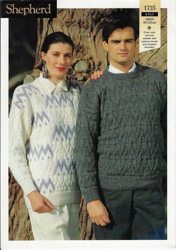 21e8184c9 Details about Men   Women Textured or Colour Sweaters Shepherd 1735 knitting  pattern DK yarn