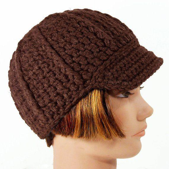 ee4c46927 Newsboy Hat with Visor, Men's or Women's Beanie, Brown