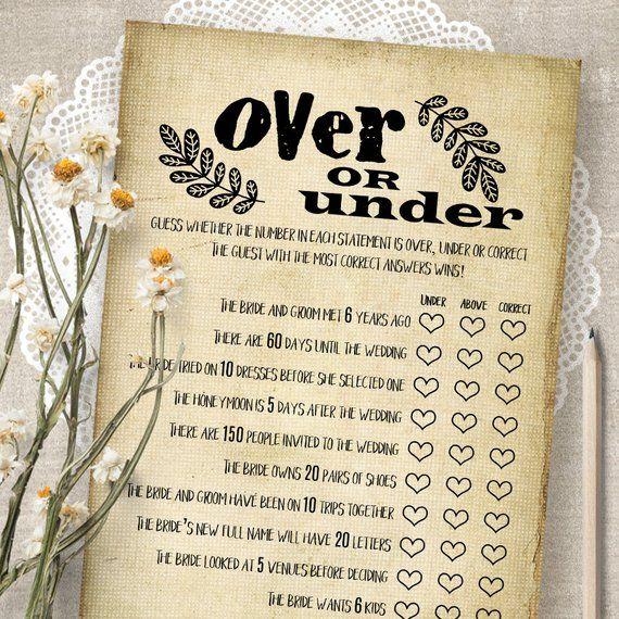 over or under bridal shower game printable bridal shower etsy