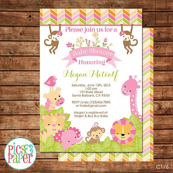 Pink Safari Baby Shower Invitation For Girl In Pink Safar
