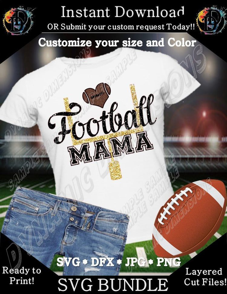 804c87ce ... Cut Silhouette Files Cricut Svg Dxf iron on Mom Image clipart. Excited  to share this item from my #etsy shop: Football Mama Football Bundle Svg